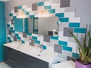 Carrelage Salle De Bain Blanc : un carrelage blanc gris bleu mural pour la salle de bain ~ Melissatoandfro.com Idées de Décoration