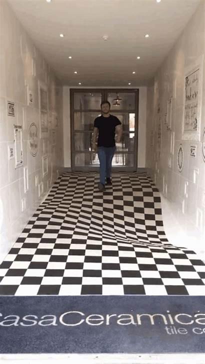 Illusion Optical Floor Hallway Tile Illusions Paint