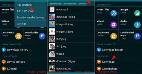 my files app for android samsung galaxy s5 how to create a folder shortcut in my