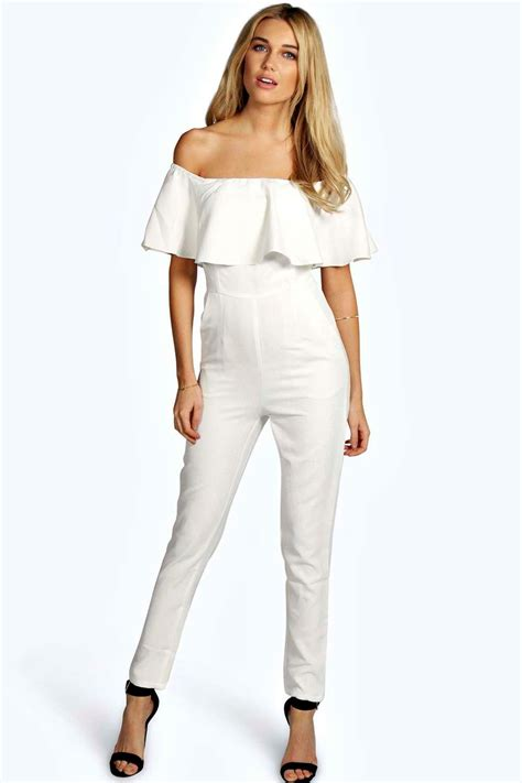boohoo jumpsuits boohoo womens boutique frill the shoulder jumpsuit