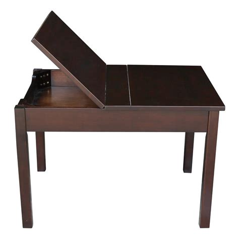 L Table With Storage by International Concepts Rich Mocha Lift Top Storage