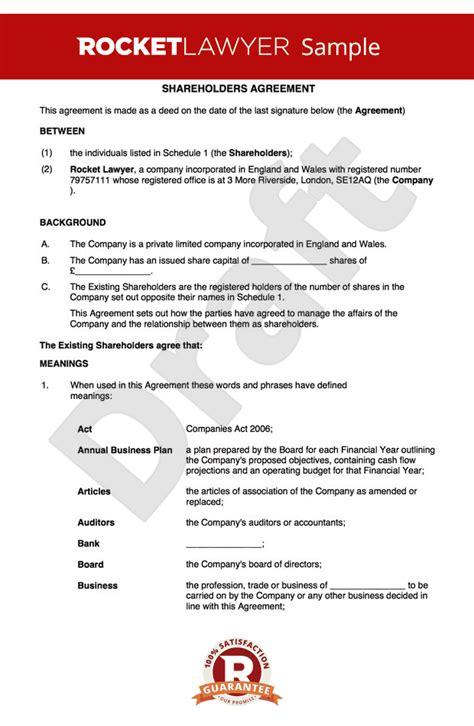 shareholders agreement template uk