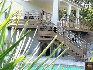 Terrasse bois en hauteur avec escalier cahors lot 46 for Terrasse en bois en hauteur