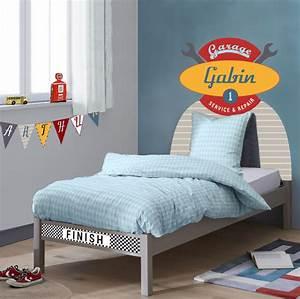 Lit Voiture Garcon : sticker t te de lit garage pour chambre gar on voiture ~ Melissatoandfro.com Idées de Décoration