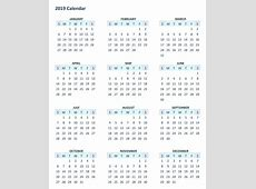 Yearly 12 Month Calendar 2019 Template Printable 2018