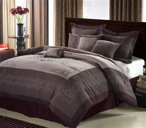 8pc luxury bed in a bag comforter set purple plum pillows