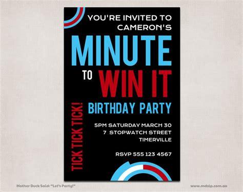 Custom birthday invitations, party favors, cards, games. MINUTE to WIN IT Party Invitations Custom Personalized ...
