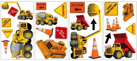 Truck Wallpaper Childrens Decor by Construction Trucks Wall Stickers Decals Peel Stick