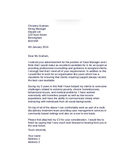 case manager cover letter templates  ms word