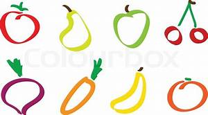 Drawing fruit and vegetable icons Stock Vector Colourbox