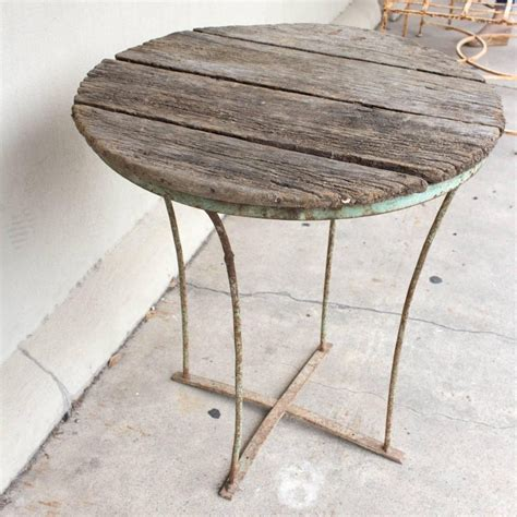distressed wood  metal garden  bistro table