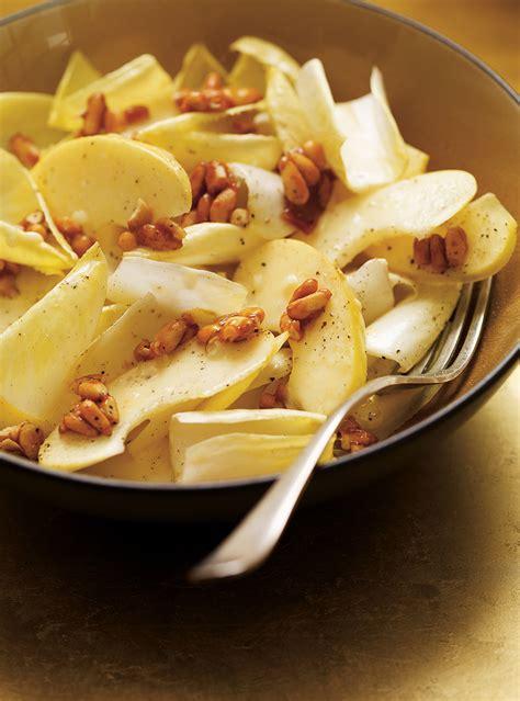 ricardo cuisine francais endive and apple salad with honey caramelized pine nuts