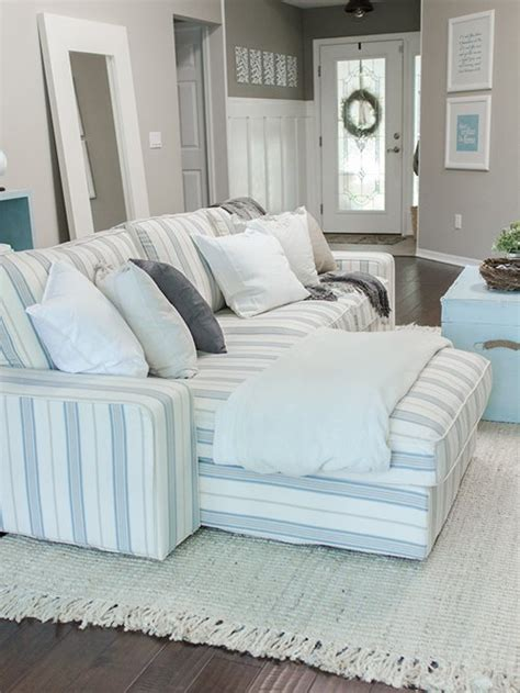 nautical themed living room custom sofa slipcover