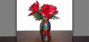 How to Make a recycled flower vase from a glass bottle ...
