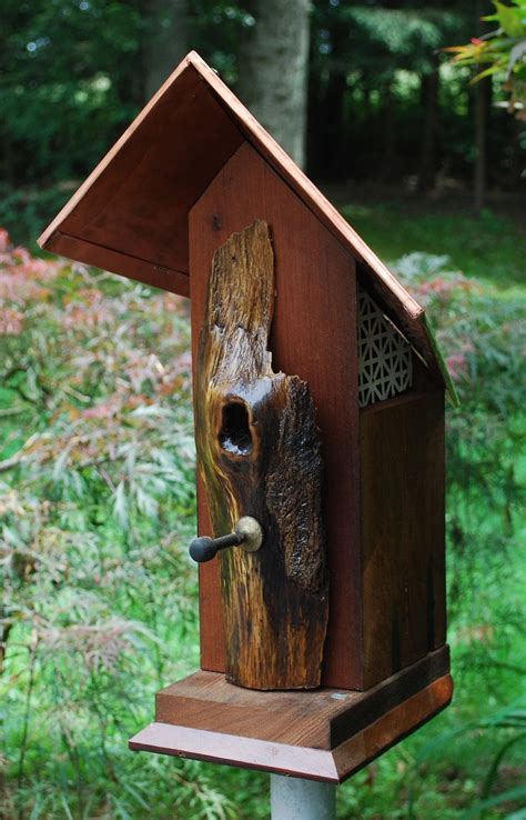 rustic reclaimed redwood bird house   etsy