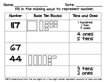 place value worksheets base 10 blocks by tpt