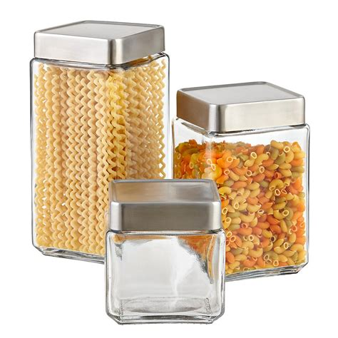 storage sets for kitchen set of anchor hocking glass brushed aluminum canisters 5884