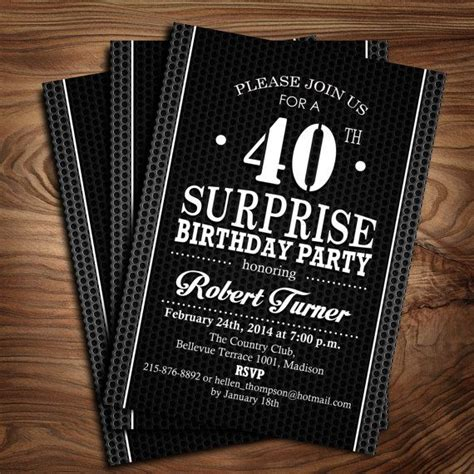surprise  birthday invitation black  white