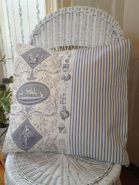 shabby chic curtains and cushions french country pillow cover shabby chic pillow cover blue toile pillow cover ticking pillow