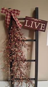 Quot country primitive decorative wooden ladder with live