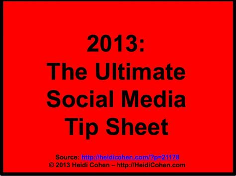 the ultimate social media tip sheet heidi cohen