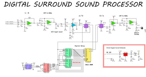 simple surround sound processor circuit electronic circuit