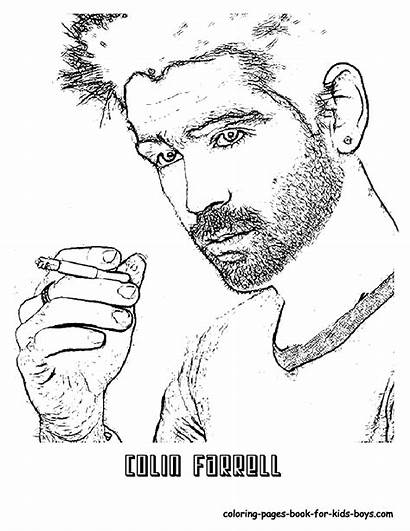 Coloring Pages Hollywood Colin Celebrity Colouring Farrell