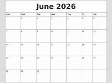 June 2026 Large Printable Calendar