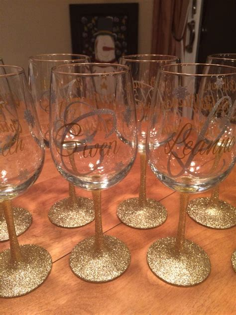 gold  silver glitter stem wine glasses  glitter