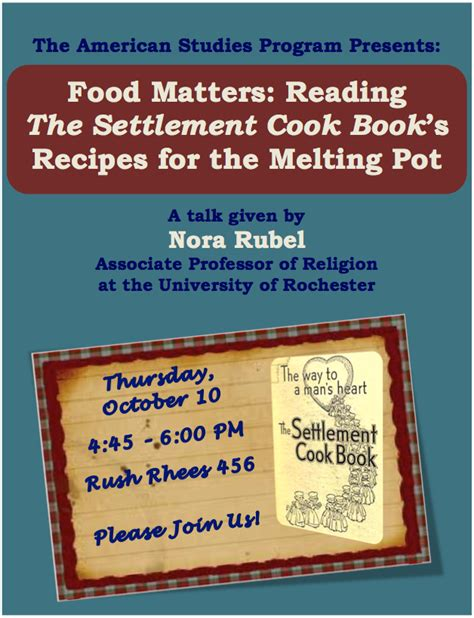food matters reading the settlement cook book s recipes for the melting pot susan b