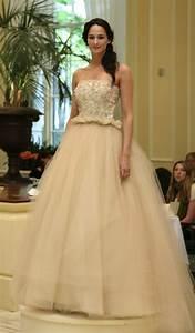 beige romantic tulle ballgown wedding dress onewedcom With beige wedding dress