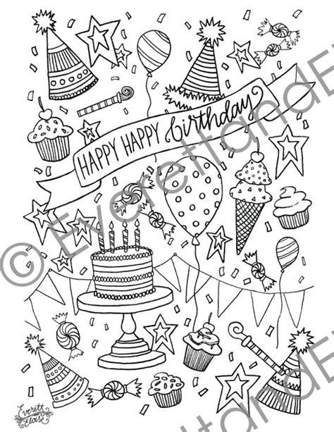 digital  happy happy birthday coloring