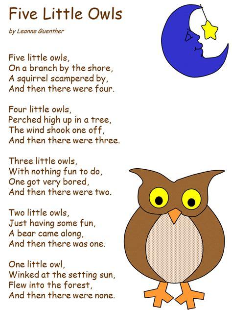 preschool bird songs and fingerplays five owls nursery rhyme poems the o 689