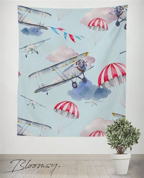 Airplane nursery airplane wall decor airplane plane decor | etsy. Airplanes Tapestry, Plane, Nursery, Kids, Fly, Wall decor ...