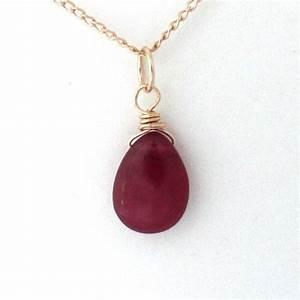 Ruby necklace, July birthstone necklace, genuine ruby ...