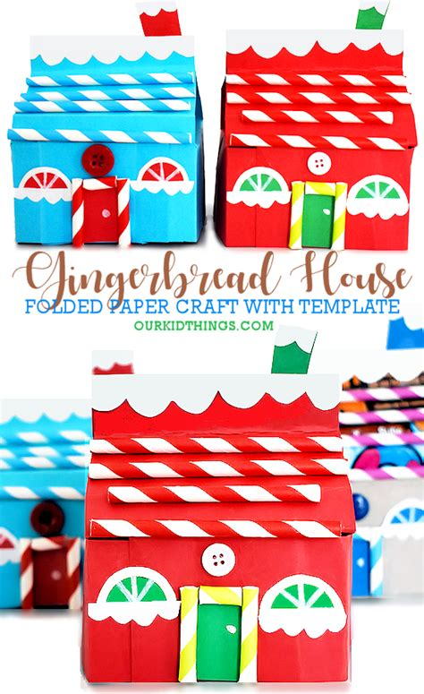 folded paper gingerbread house craft  images