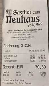 Essen Auf Rechnung : hohe rechnung f r entt uschendes essen und trinken bild von gasthof neuhaus berchtesgaden ~ Themetempest.com Abrechnung