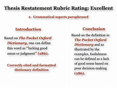 Thesis Example Definition Restatement Citation
