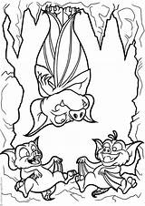 Cave Bats Coloring Three Halloween sketch template