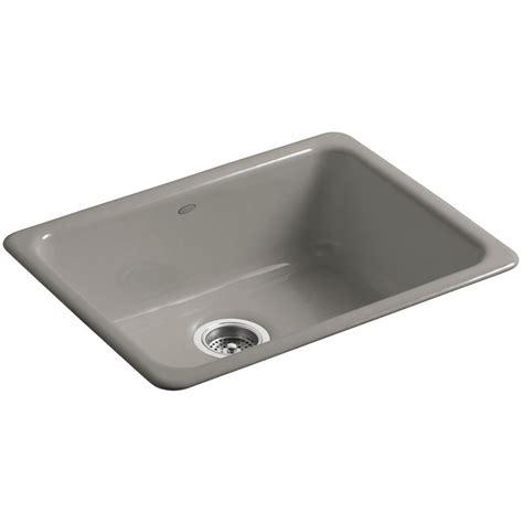 cast iron single bowl kitchen sink kohler iron tones drop in undermount cast iron 24 in 9383