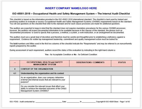 iso  internal audit checklist iso  store