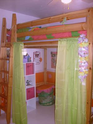 ikea wood loft bed love  set upcurtains  tension