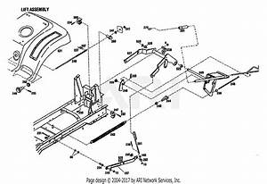 Troy Bilt 13078 16hp Hydro Garden Tractor  S  N 130780100101  Parts Diagram For Lift Assembly