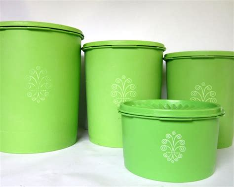 green canisters kitchen vintage lime green tupperware canister set of 4 swirl
