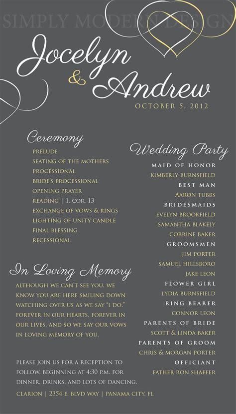 one page wedding program wedding ceremony program hearts wedding signage reception wedding bridal order