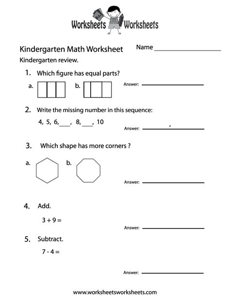 kindergarten math practice worksheet free printable