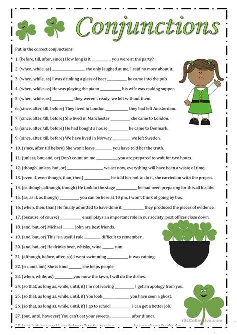 conjunctions worksheet  esl printable worksheets