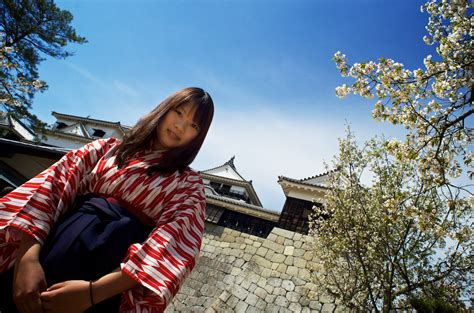Japanese Girl Kimono Matsuyama Medieval Castle Shik