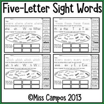 224 best images about kindergarten sight words hfws on