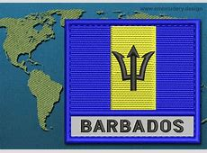 Barbados Text Flag Embroidery design with a Colour Coded
